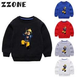 Crianças hoodies crianças dos desenhos animados bombeiro sam moletom engraçado bebê algodão pulôver topos meninas meninos roupas de outono, kyt2078
