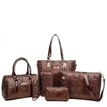 6 sets Luxury Brands Women Tote+Shoulder/Messenger+Clutch Composite Bags High Quality Serpentine Handbag Designer Famous bags цена и фото