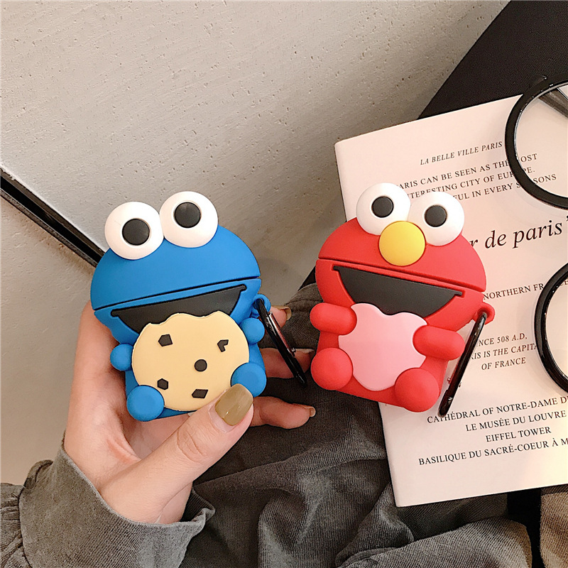 Sesame Street Cartoon Bluetooth Earphone Case For Airpods Cute Silicone Protective Cover For Airpods 2 Accessories+Keychain