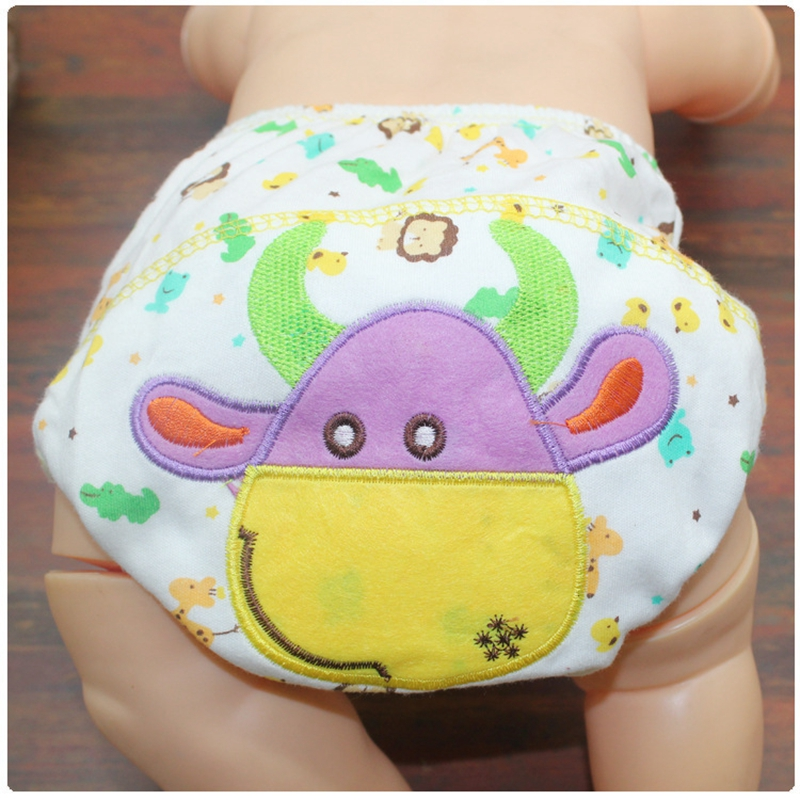 1pc Baby Cotton Underwear Baby Reusable Diapers Washable Cloth Diaper Cover Baby Cartoon Nappies Swim Soft Nappy Training Pants