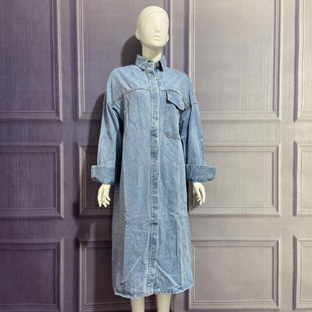 Spring Autumn Women Vintage Blue Long Denim Jackets Solid  Pocket Jeans Coat Female Outwear Tops Casual Loose Cowboy Windbreaker 2