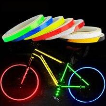 Bicicleta acessórios do carro bicicleta reflexivo adesivo tira mtb bicicleta roda adesivo fluorescente refletor fita adesivo ciclismo decoração