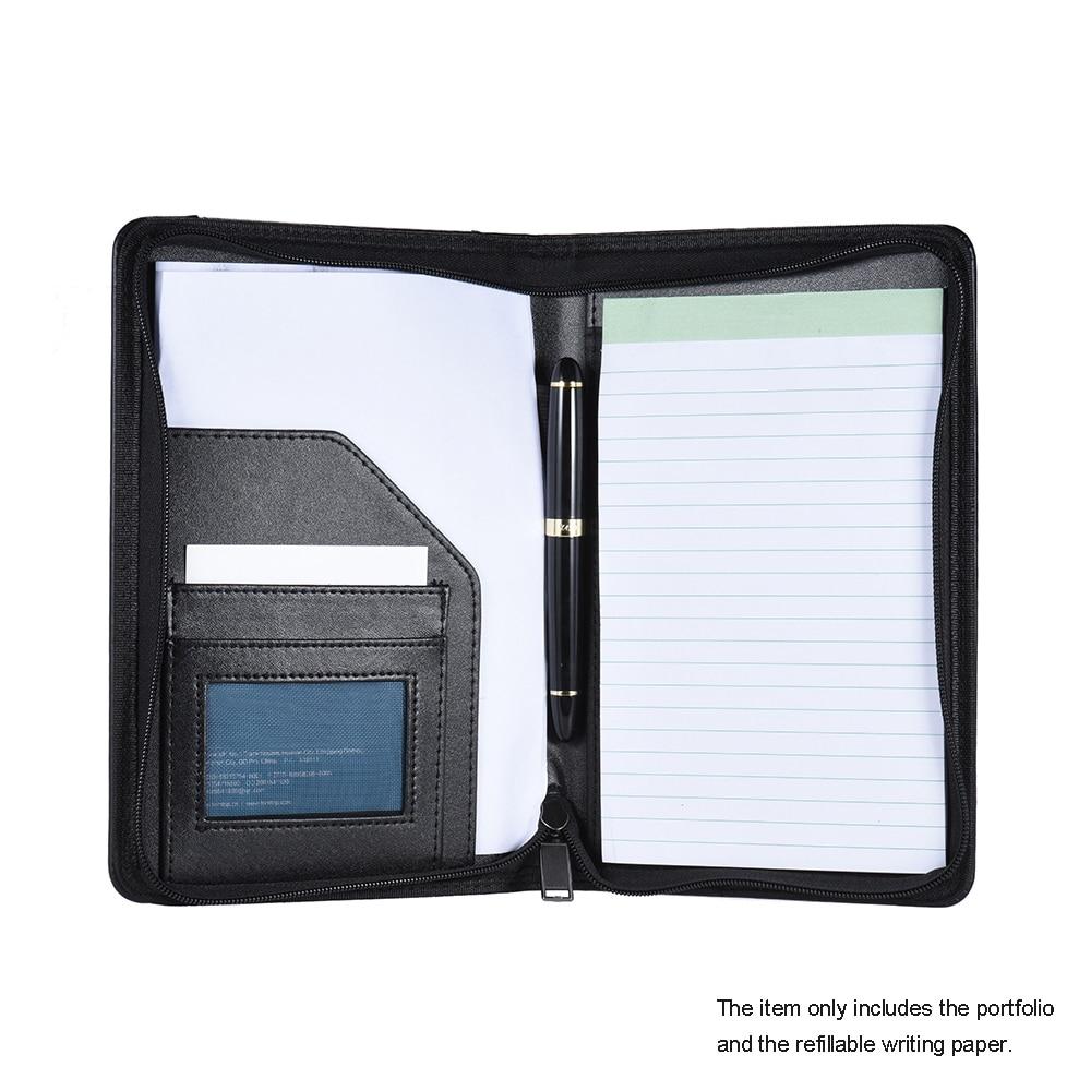 Portable Business Portfolio Padfolio Folder Document Case Organizer PU Leather with Business Card Holder Memo Note Pad