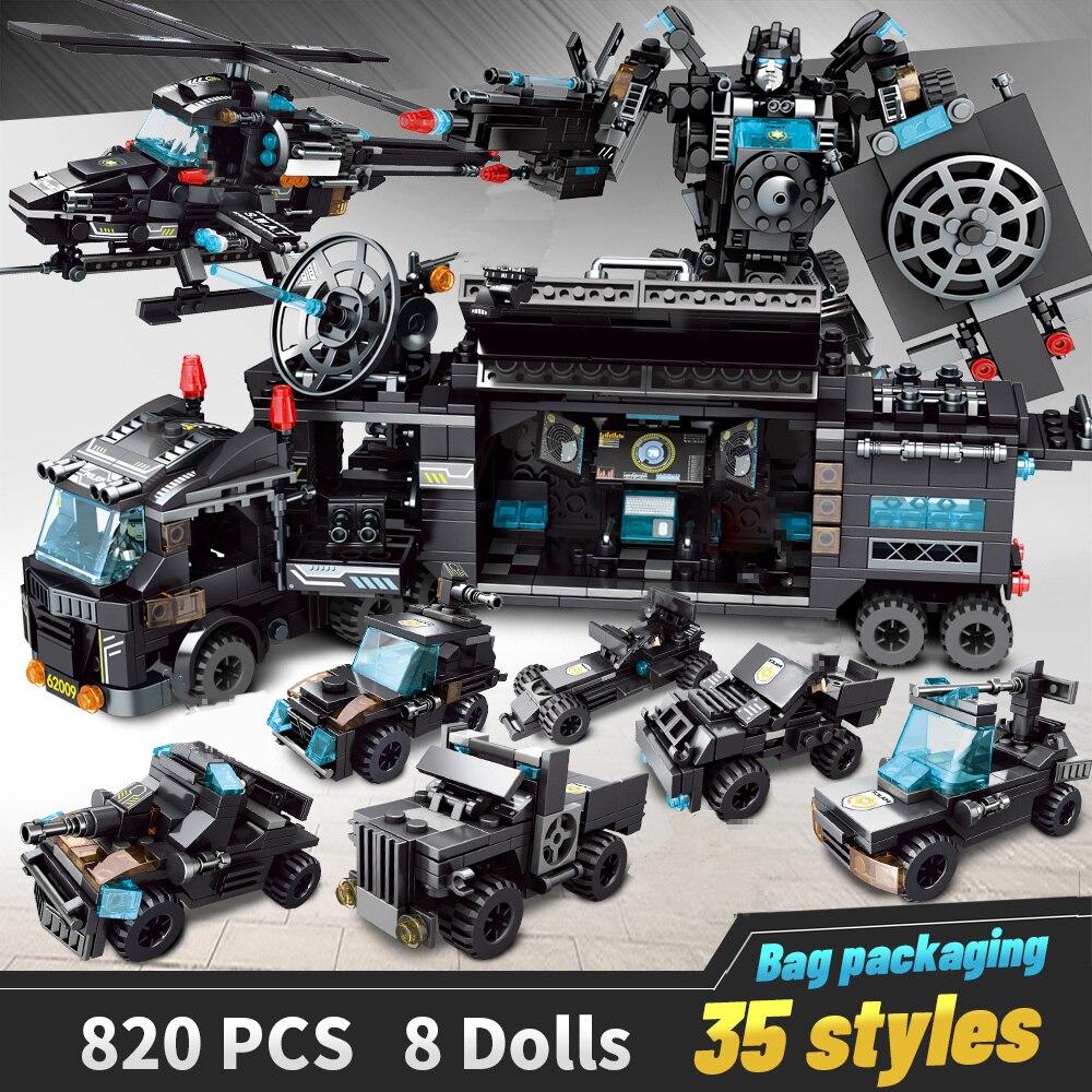 LegoINGlys Da Polícia Da Cidade de Blocos de Construção do Robô Brinquedos Tijolos Blocos Meninos Modelo de Aeronave Veículo Caminhão Educacionais Blocos Compatíveis