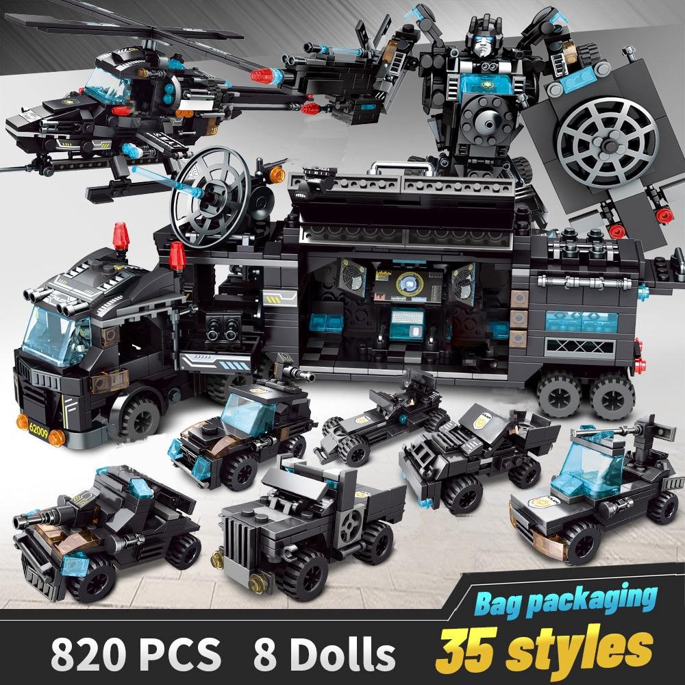 Yapı taşları Robot şehir polis oyuncaklar blokları erkek araç uçak eğitici kamyon bloklar uyumlu modeli tuğla