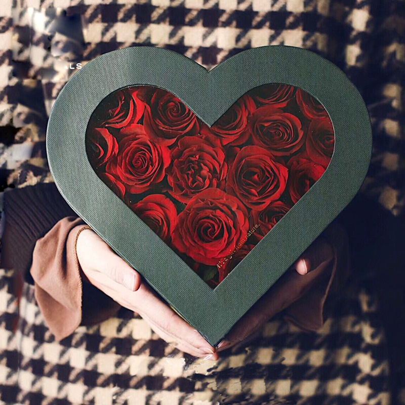 04752-PVC fleur en forme de coeur boîte fleurs à travers l'estampillage à chaud anglais alphabet boîte mariée avec cadeau à la main amour boîte