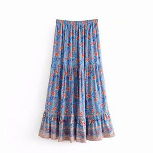 Image 5 - Đầm Sang Trọng Nữ Họa Tiết Bãi Biển Bohemia Váy Nữ Cao Lưng Thun Rayon Chữ A Boho Maxi Váy Femme