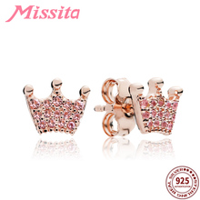 MISSITA 925 Sterling Silver Rose Gold Crown Earrings for Women Jewelry Wedding Brand Stud Anniversary Gift