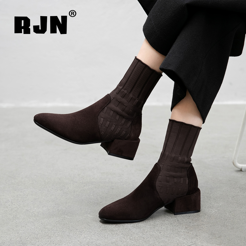 New RJN New Women's Boots Comfortable Round Toe Square Heel Flock Hot Sale Elegant Sewing Solid Shoes Handmade Mid-Calf Boots RO76