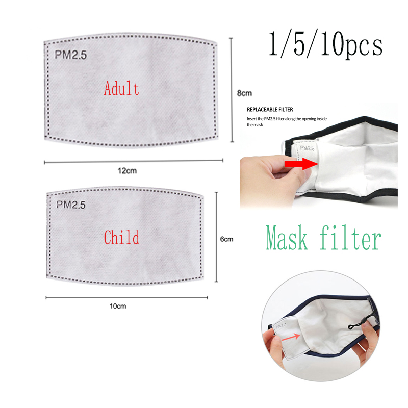 10Pcs/Lot 5 Layers PM2.5 Activated Carbon Filter Adult / Child 2 Types Anti Haze Mouth Mask Anti Dust Mask Filter Paper
