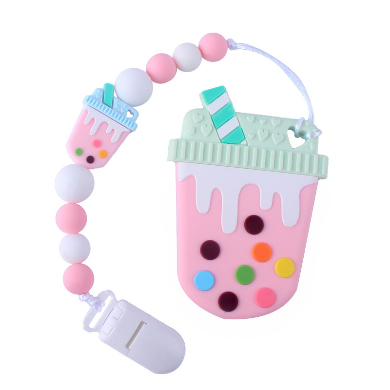 Baby Food Grade Silicone Pacifier Chain Baby Milk Cup Silicone Molar Teether Toy Pacifier Teether Chain