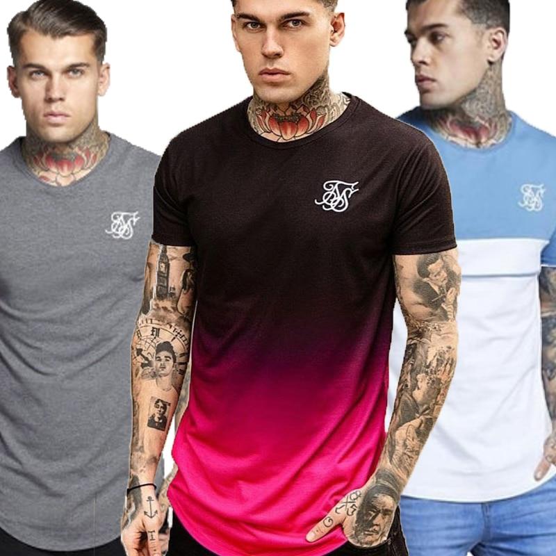 2020 Summer Sik Silk T Shirts Mens Short Sleeve Tshirt Male Boys Tops Tees Casual T-shirt Silk Silk T Shirt Men