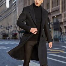 Męski płaszcz zimowy ciepłe wełniane kurtki społeczne Streetwear zwykły polar Streetwear męskie Koren Style długie trencze wiatrówka tanie tanio Toplimit Pełna Stałe Pojedyncze piersi Skręcić w dół kołnierz REGULAR HB19122017 NONE Suknem COTTON Konwencjonalne