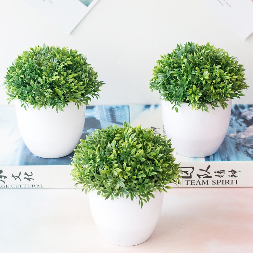1Pc Artificial Grass Ball Green Plant Bonsai Miniascape Wedding Party Home Table Bonsai Decor