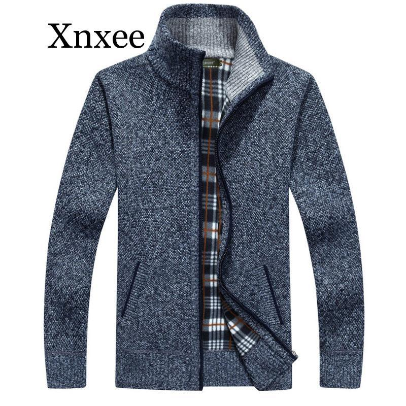 Sweater Men's Autumn And Winter Plus Velvet Thickening Artificial Fur Wool Large Size 5XL Zipper Knit Coat Stand Collar Cardigan
