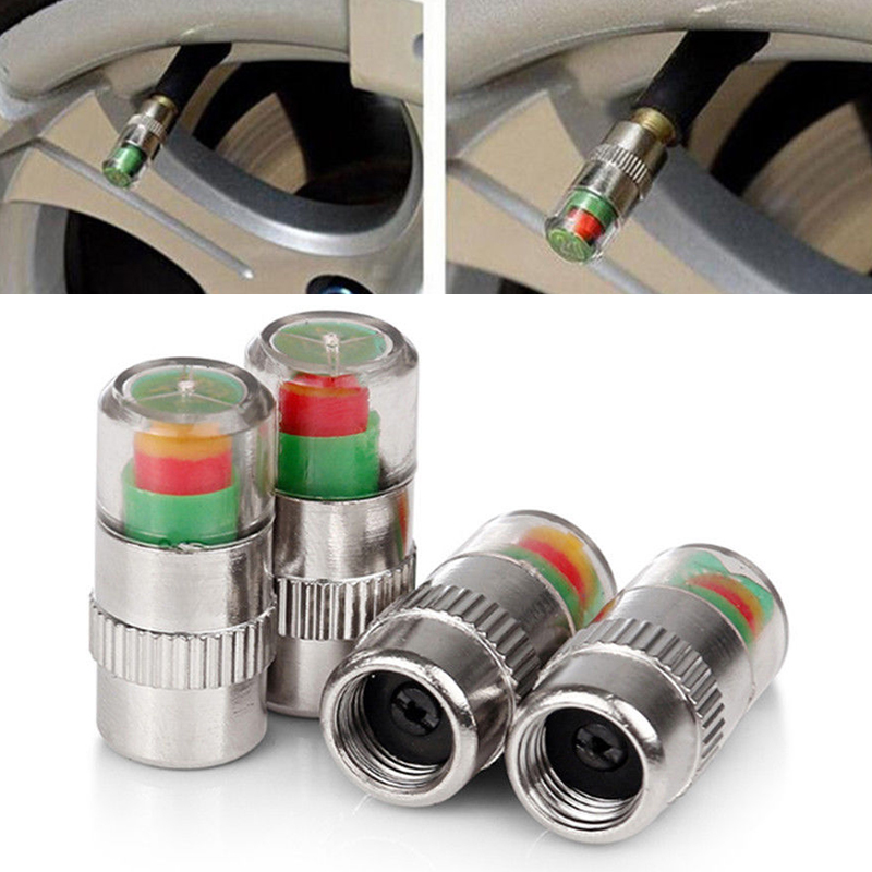 4x High Quality Automotive Alert Tire Pressure Cap Detection Monitoring External Valve Visual Warning Transparent Window For Car