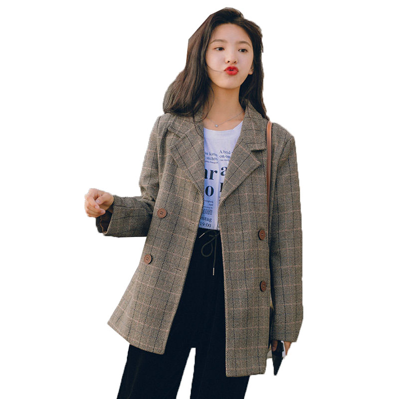 Women's Suit Jacket Double-breasted Vintage Casual Lattice Ladies Blazer 2020 New Spring High Quality Wool Blended Suit Coat