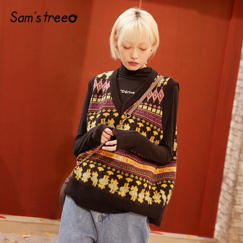 SAM'S TREE Green Colorblock Print Pullover Knit Sweater Vest Women 2020 Spring Korean Sleeveless Vintage Ladies Basics Tops