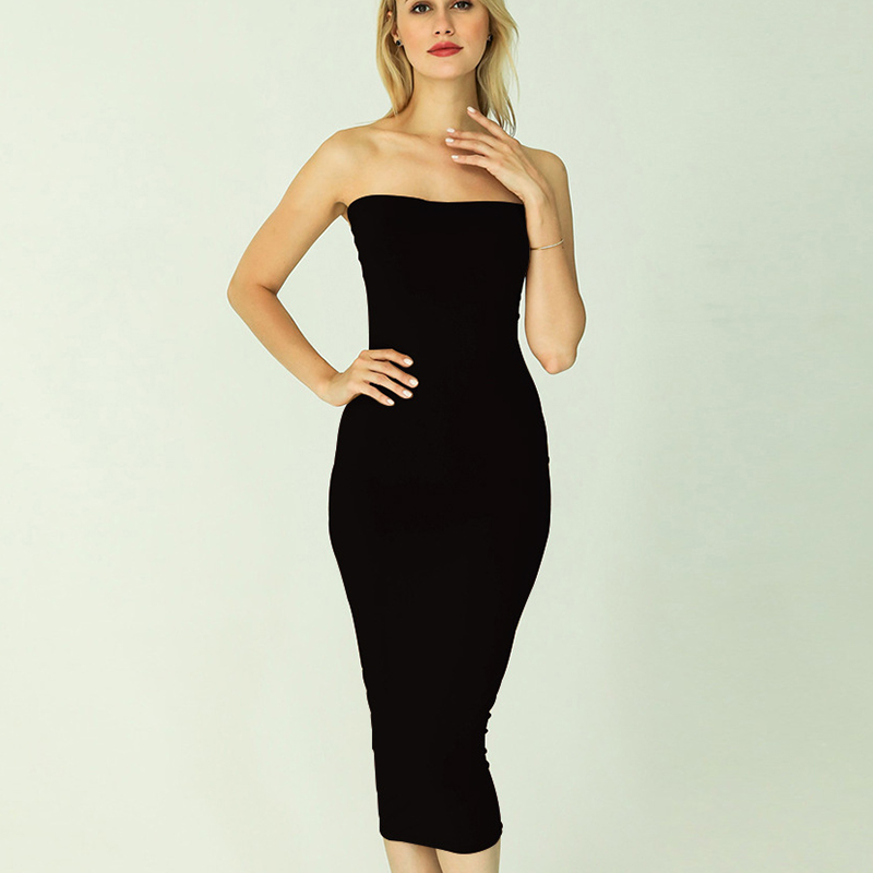 Forefair Sexy Long Dress Women Summer 2020 Club Off Shoulder Strapless Bodycon Dress White Black Red Party Tube Dress Women