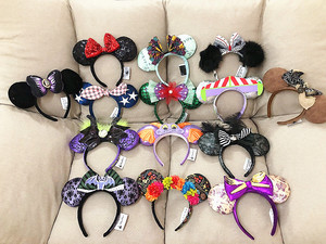 NEW Minnie mickey sequin Purple Aulani Gold Flower DOT Ariel haunted mansion EARS COSTUME Headband Cosplay Plush 24 Styles(China)
