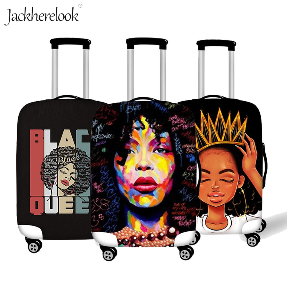Jackherelook Black Art Afro Luggage Protective Cover 18-30 Inch Trolley Label Suitcase Tag Set Thick Elastic Travel Accessories