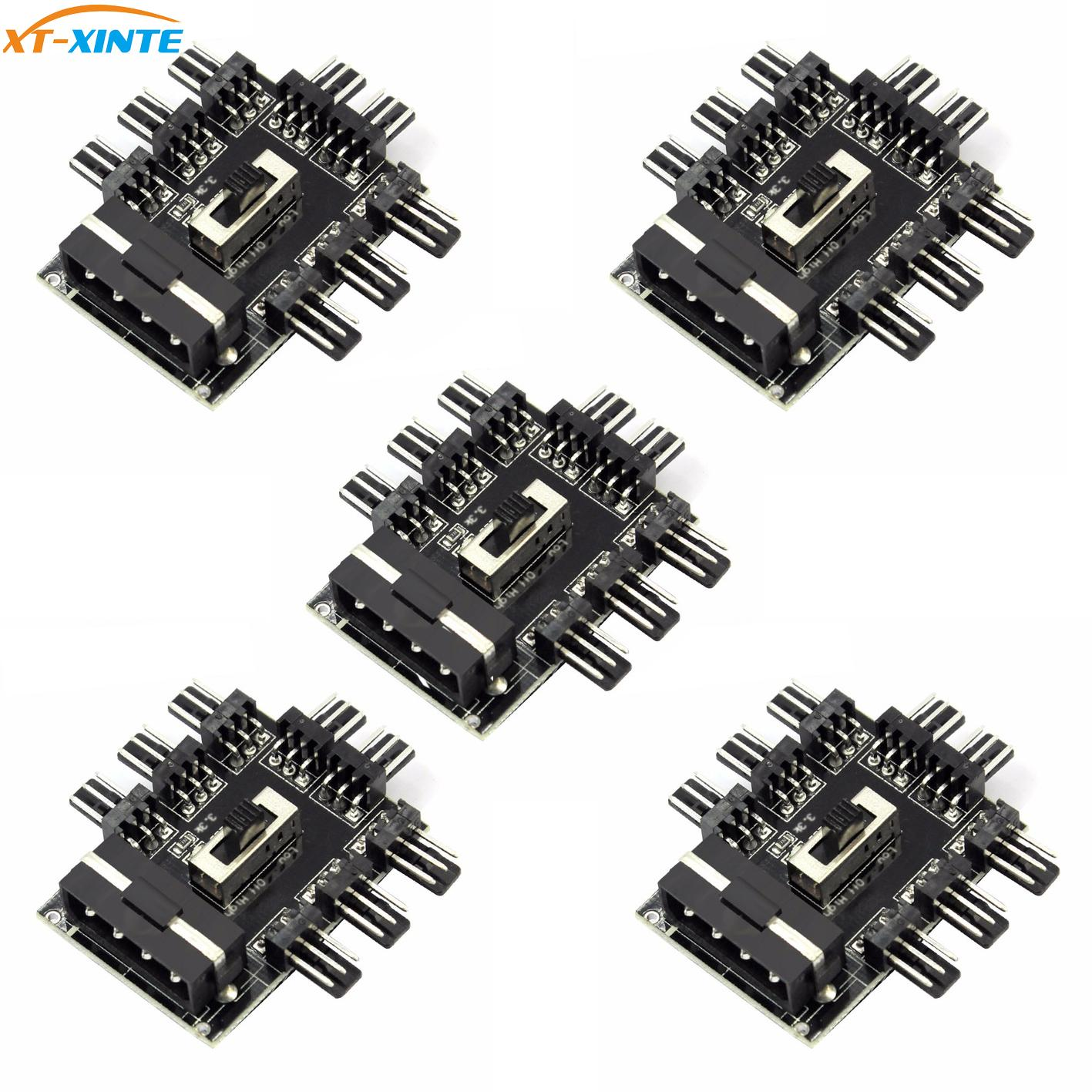 5pcs Computer Cooling 1 to 8 <font><b>4Pin</b></font>/SATA Cooler Fan Hub <font><b>Splitter</b></font> Cable <font><b>PWM</b></font> 3Pin Power Supply Adapter 2 Level Speed Control image