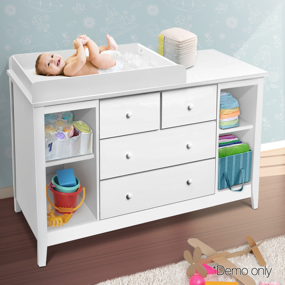 Artiss Change Table With 4 Generously Sized Drawers - White BABY-CHEST-WHITE-AB Practical Design 142 X 45 X 81cm A2