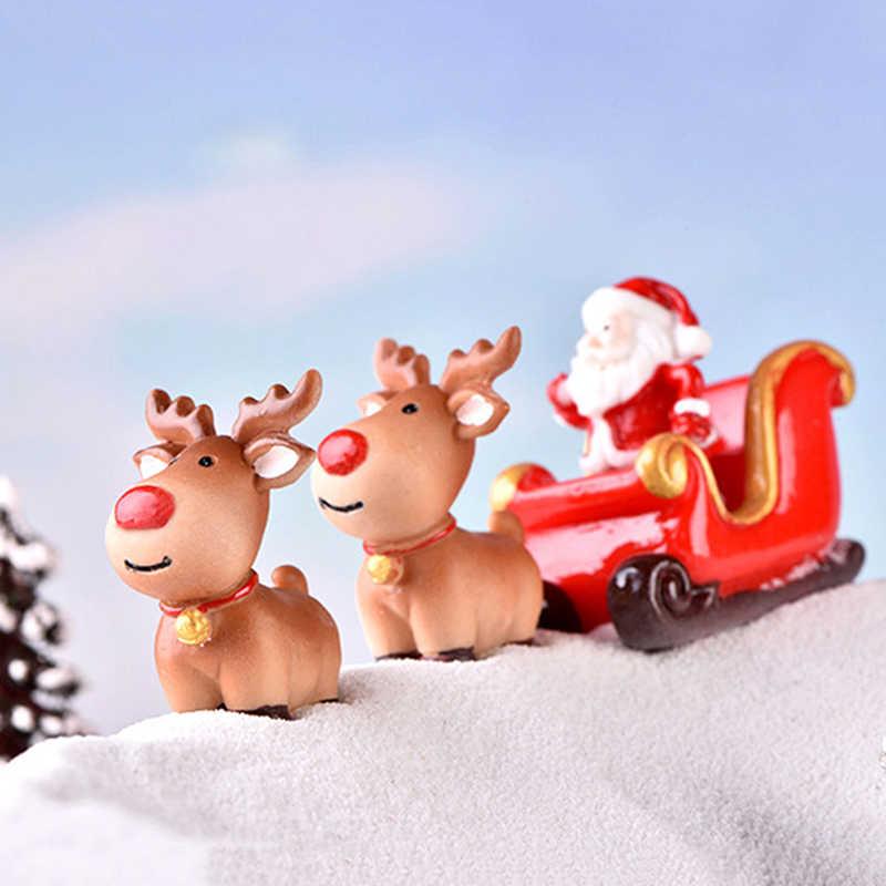1 adet figürler noel minyatür noel baba kızak ren geyiği hediye peri bahçe dekor kar manzara Model tren teraryum