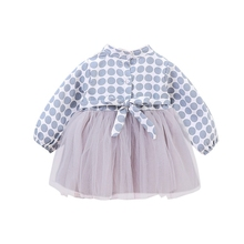 Baby Girls Long Sleeve Chinese Style Dot Print Dress
