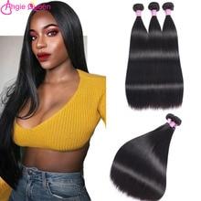 Straight Bundles Hair Weaves Brazilian-Hair Natural-Color 100%Human-Hair QUEEN ANGIE