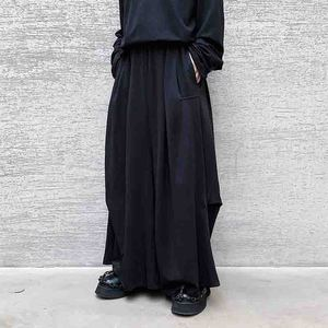 Dark men's design Yamamoto wide leg 2020 side structure autumn solid casual pants skirt pants Harun pants loose