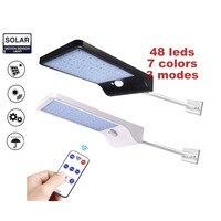 48 leds solar powered wall light infravermelho & sensor de luz sem fio ao ar livre ip65 à prova dwaterproof água iluminação segurança para porta remoto Lâmpadas solares     -
