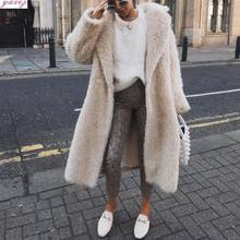2019 Faux fur lange vrouwen winter herfst jas Overjas Warm Effen Kleur bont jas Losse Jas(China)
