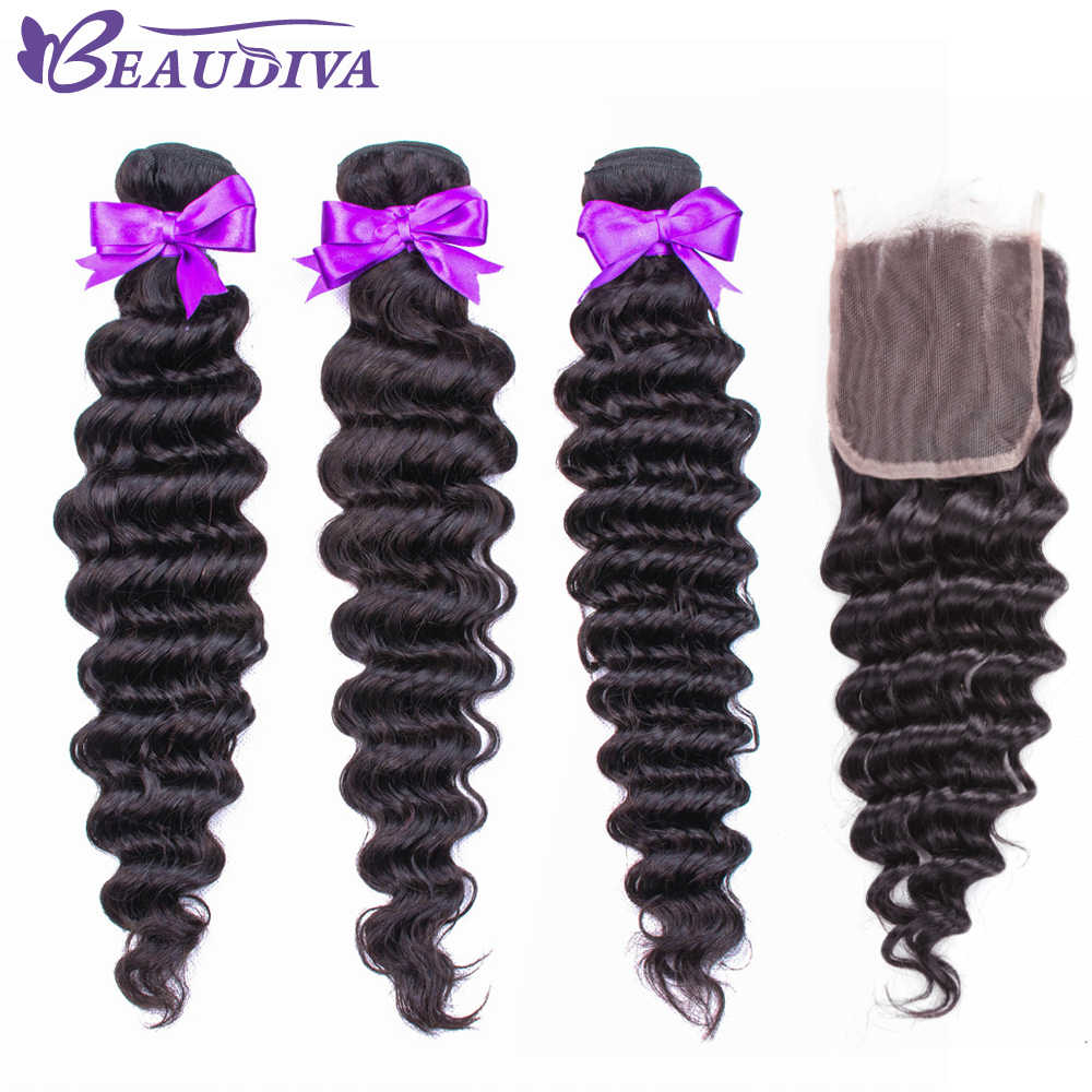 Deep Wave Bundles With Closure Hair Bundles With closure Brazilian Hair Weave Bundles Human Hair Bundles With Closure Remy Hair