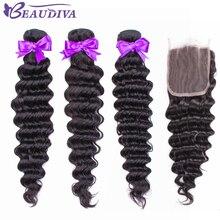 Deep Wave Bundles With Closure Hair closure Brazilian Weave Human Remy