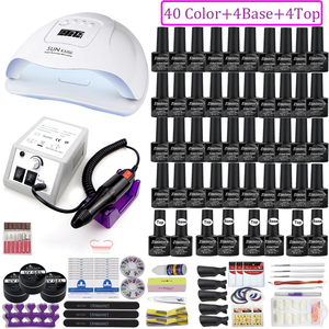 Professional Nail Kit Acrylic Manicure Set 40 Colors Gel Polish Full Set Nail Tools Art Decoration Nail Drill Machine Nail Lamp