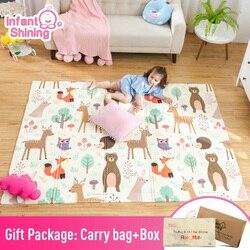 Детский блестяший игровой коврик-пазл, плотный складной коврик для детской из сшитого полиэтилена