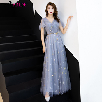 Starry Sky Blue Lace Evening Dresses Long ES30353 A-Line Short Sleeve V-neck Evening Gown Elegant Formal  Robe De Soiree
