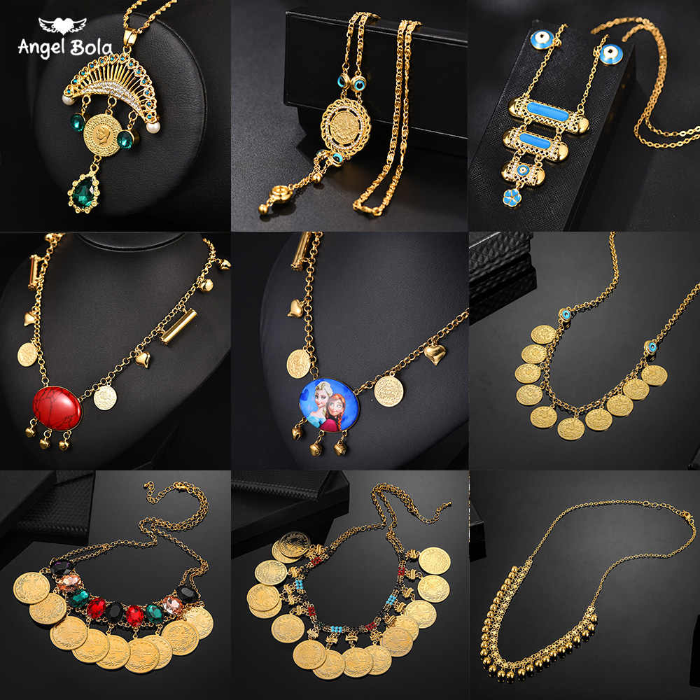 Metal Coin Big Allah Muslim Necklaces for Women Arab Coins Luxury Wedding Gifts Islam Middle East African Jewelry New No Faded