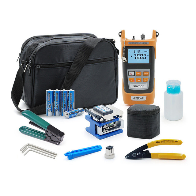 Fiber Optic FTTH Tool Kit with FC 6S Fiber Cleaver and Optical Power Meter 5km Visual Fault Locator Wire stripper Glasve Optisch