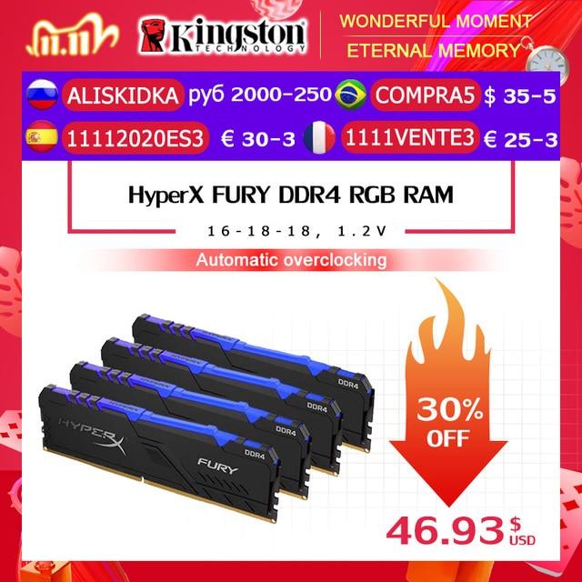 Kingston HyperX FURY DDR4 RGB Memory 2666 MHz 3200MHz DDR4 CL15 DIMM XMP 8GB 16GB  Memoria Ram ddr4 for Desktop Memory Rams
