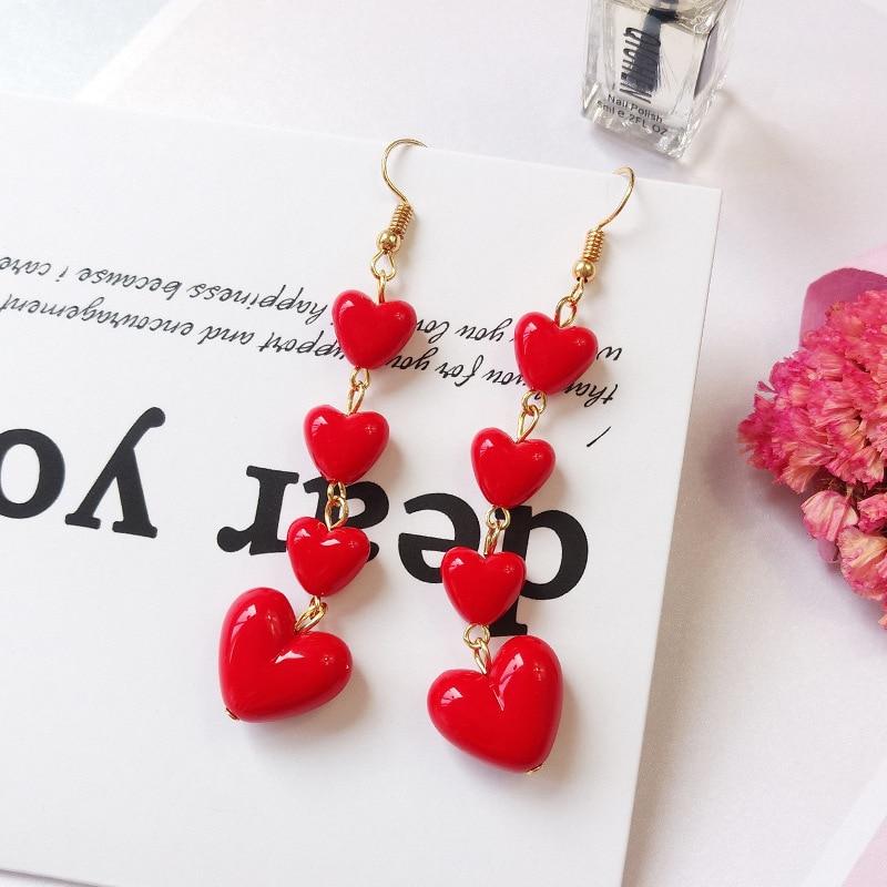 Длинные серьги с кисточками в Корейском стиле, красные серьги-капли с милым сердцем для женщин и девочек, подарок на день Святого Валентина, ...