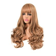 MERISI HAIR Ombre Black Brown Cosplay Lolita Wigs With Bangs Long Wavy Synthetic Hair Wig For Women High Temperature Fibe