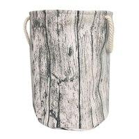 Stylish Tree Stump Shape Design Storage Basket Cotton Fabric Washable Cylindric Laundry Hamper with Rope Handles  Decorative and|Laundry Baskets| |  -