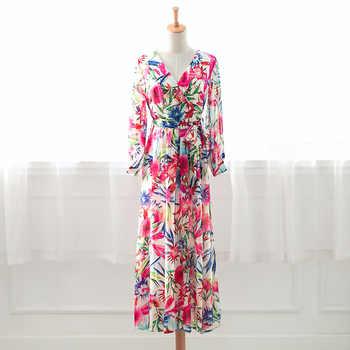 Automne à manches longues à pois imprimé robe longue Vintage femmes coton lin robes Femme caftan Vestido Femme robe de soleil