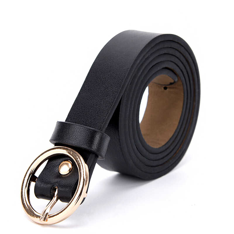 1 Pcs Vrouwelijke Gouden Ronde Metalen Cirkel Riem Pu Lederen Taille Riemen Voor Vrouwen Meisjes Jeans Broek Goud Zilver Zwart wit
