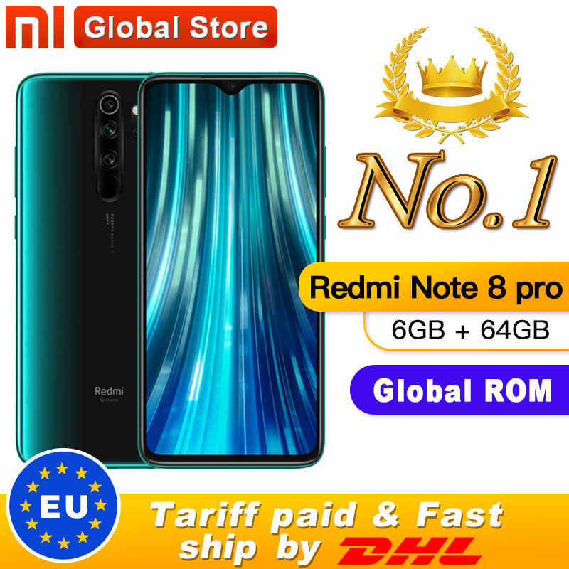 "Global Rom Originele Xiaomi Redmi Note 8 Pro 6 Gb 64 Gb Mtk Helio G90T Smartphone 6.53 ""64MP Quad achter Camera 4500 Mah Batterij"