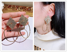 charm rhinestone circle Simple Fashion Geometric round  Dangle Earrings fashion jewelry trendy luxury earrings