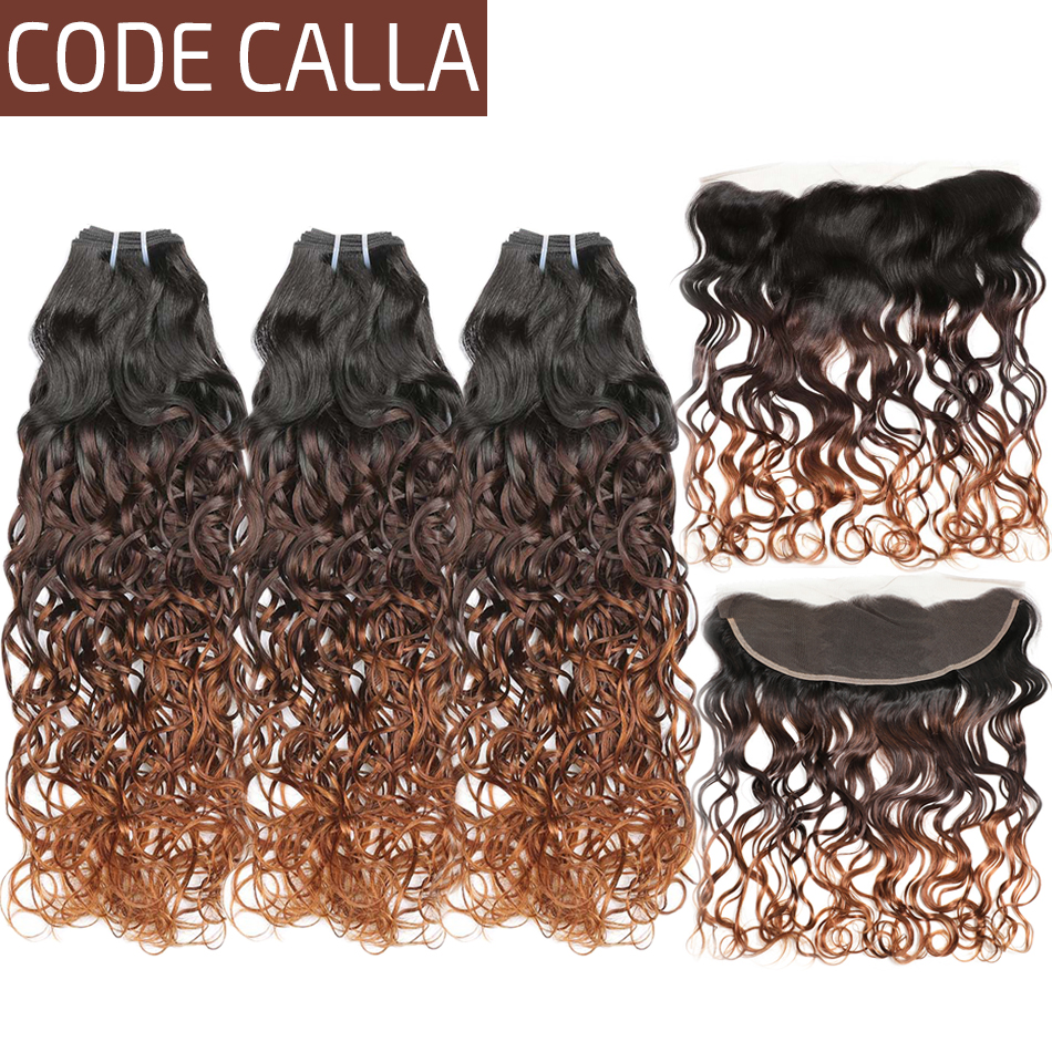 Ombre Color Water Wave Human Hair Bundles With Frontal T1B/4/30 Brazilian Remy Human Hair Weave Bundles With 13X4 Lace Closure