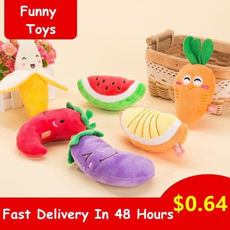 1 PC Plush Sounding Squeaky Bone Dogs Toys Puppy Cat Chew Training Toy Banana Carrot Vegetable Pet Supplies игрушка для собак